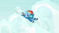 Rainbow Dash flying through the sky S9E3