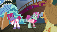 Trainer ponies angrily point at each other S6E20