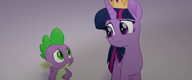 Twilight and Spike look worried at each other MLPTM