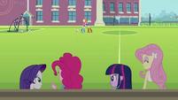 Applejack and Rainbow Dash hug background EG