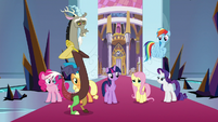 Fluttershy blushing at Discord's words S9E2