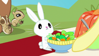 Fluttershy giving salad to Angel Bunny S8E4
