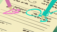 Pens scrawling on Ocellus' permission slip S9E3