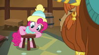 Pinkie Pie placing a stool chair MLPBGE