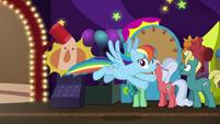 Rainbow Dash flies into the hotel arcade S8E5