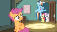 Rainbow kicks door to reveal Apple Bloom and Sweetie Belle S4E05