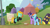 Twilight and Rainbow meet with the Washouts S8E20