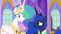Celestia grinning expectedly at Luna S9E13