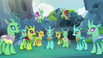 Changelings staring back at Thorax S7E17