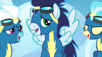 Fleetfoot, Soarin, and Misty Fly laughing S6E7