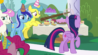 Moon Dancer pointing at Minuette, Twinkleshine, and Lemon Hearts S5E12