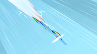 Rainbow Dash doing a sonic rainboom 1 S1E16