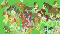 Supporting characters on green background S9E26