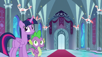Twilight and Spike looking back at Shining S9E4