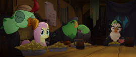 Celaeno, Boyle, and Squabble eating lunch MLPTM