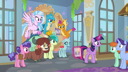 Headmare Twilight handing out flyers for the dance S9E7.png