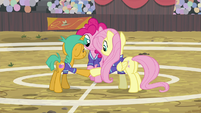 Pinkie, Fluttershy, and Snails hoof-bump S9E6
