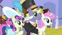 Sweetie Drops, Ponet, and Twinkleshine watching the polo game S5E10