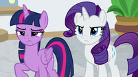 Twilight and Rarity glare at Flim and Flam S8E16
