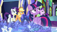 Twilight and friends look up at Discord S9E1