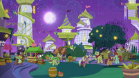 Appleloosan ponies around the food stands S9E17