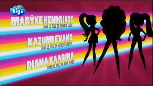 My Little Pony Equestria Girls Rainbow Rocks 'Maryke Hendrikse as Sonata Dusk', 'Kazumi Evans as Adagio Dazzle' & 'Diana Kaarina as Aria Blaze' Credits - French.png