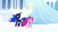 Pinkie and Luna in dream Cloudsdale S5E13
