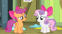 Scootaloo and Sweetie looking at each other S4E17