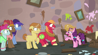 Sugar Belle telling Big Mac and Feather Bangs off S7E8