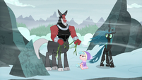 Tirek, Cozy, and Chrysalis nod at each other S9E8