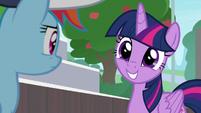 Twilight Sparkle with an innocent grin S9E15