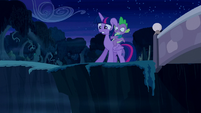 Twilight and Spike at a cliff S5E26
