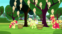 Bloom, Granny, and Mac covered in applesauce S8E18