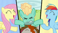 Fluttershy and Rainbow sing while Zephyr struggles S6E11