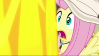 Fluttershy inches away from a lava geyser S9E21