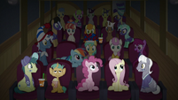 Movie-watching ponies stare at Team Ponyville S9E6