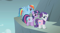 Rainbow Twilight and Rarity on side of mountain S1E7