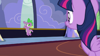 Spike pointing out the castle window S6E25