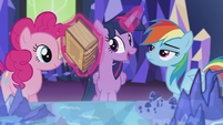 Twilight levitates Bygone Griffons of Greatness book S5E8