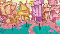 Wide view of Ponyville shopping district PLS1E2a