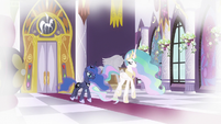 Celestia and Luna walk away from throne room S9E4