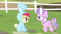 Diamond Tiara finds Apple Bloom in a bunny costume S2E12