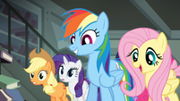 Fluttershy telling Daring Do that Rainbow wants to help S4E04