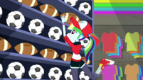 Rainbow Dash shelving footballs SS14