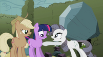 Rarity pointing at Twilight S2E01