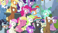 Audience ponies gasp in shock and terror S8E20
