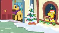 Caramel and Mr. Cake at Hearth's Warming MLPBGE