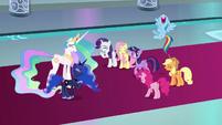 Mane Six and princesses laugh at Discord S9E2