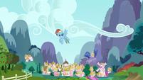 Rainbow Dash sulking in the sky S4E21