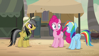 Rainbow and Pinkie stunned by Daring Do's words S7E18